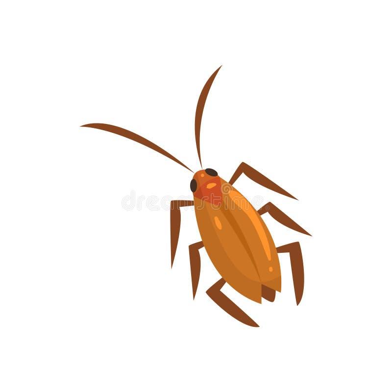 Ejemplo del vector de la historieta del insecto de la cucaracha de Brown ilustración del vector