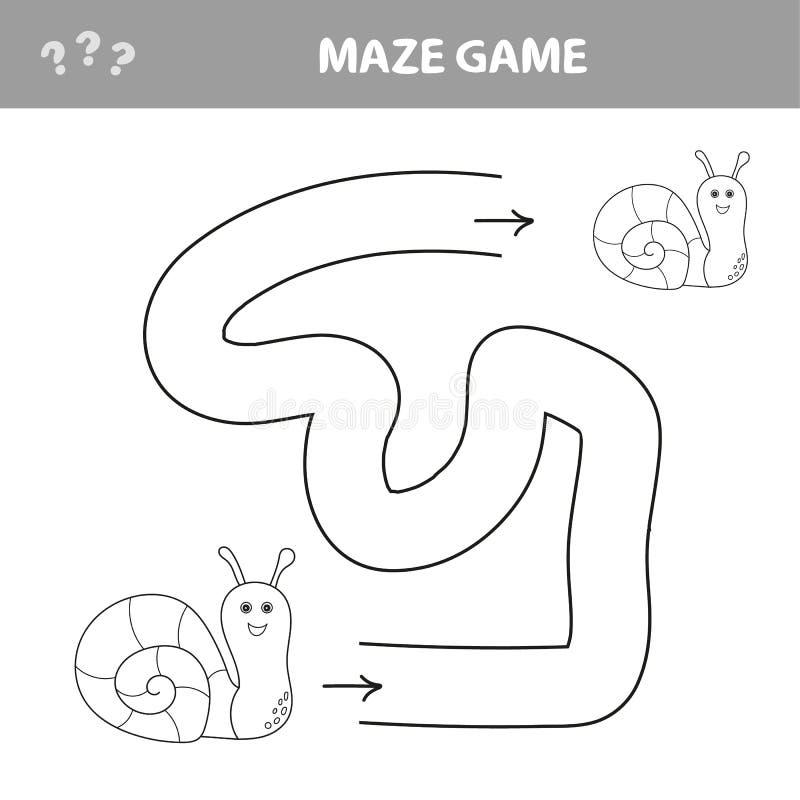 Ejemplo del vector de la historieta del laberinto de la educación o del juego del laberinto con el caracol divertido ilustración del vector