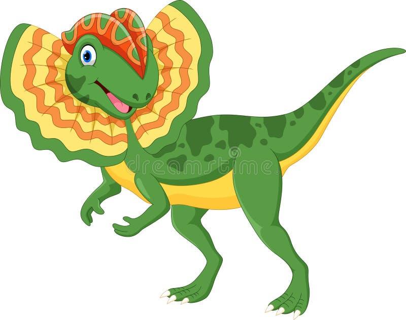 Ejemplo del vector de la historieta linda del dilophosaurus ilustración del vector