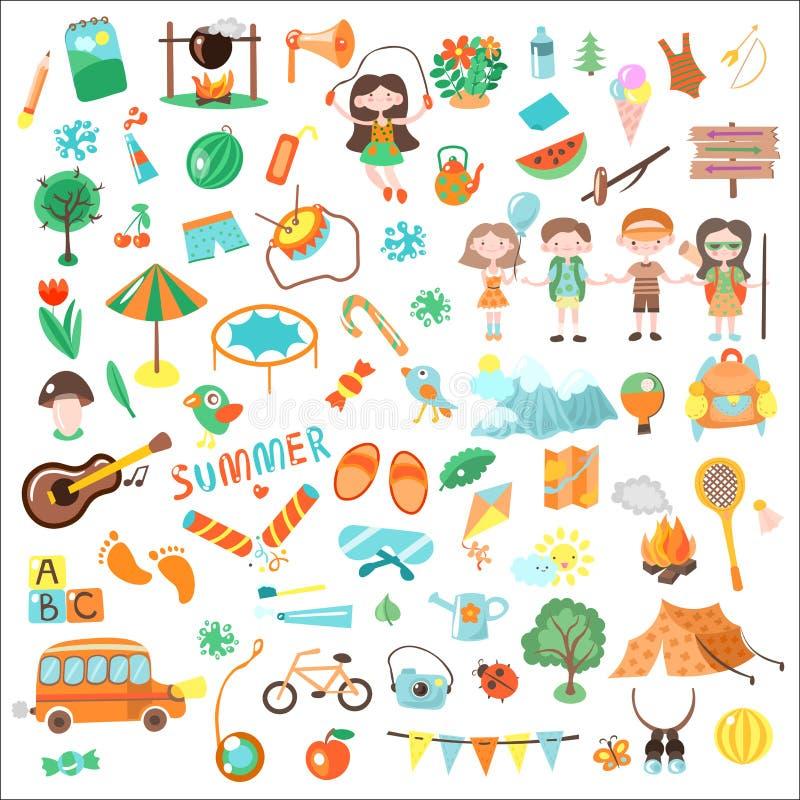 Ejemplo del vector de la historieta de los niños que acampa Sistema de los elementos y de los iconos, ejemplos cartooning del cam stock de ilustración
