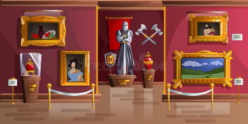 Ejemplo del vector de la historieta del sitio de exposición del museo stock de ilustración