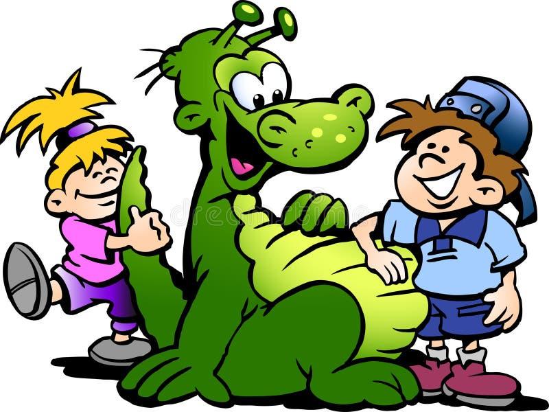 Ejemplo del vector de la historieta de un dinosaurio que se divierte con los niños ilustración del vector