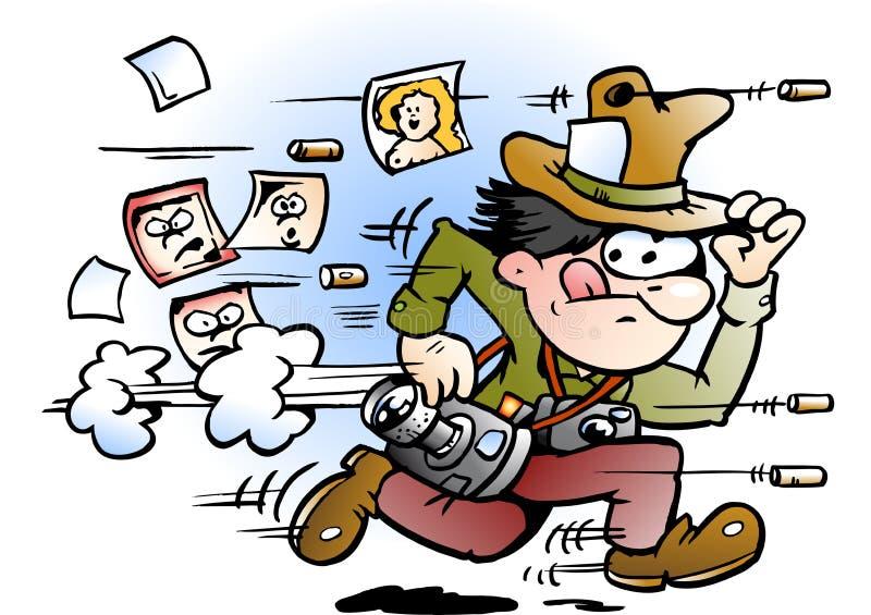 Ejemplo del vector de la historieta de un fotógrafo de los paparazzis que corre lejos stock de ilustración