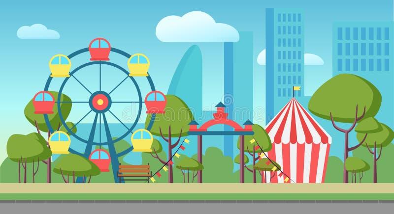 Ejemplo del vector de la historieta de un parque público de la ciudad de la diversión ilustración del vector
