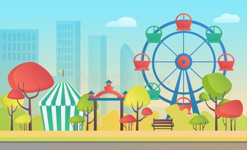 Ejemplo del vector de la historieta de un parque público de la ciudad del otoño del entretenimiento de la diversión con los árbol stock de ilustración