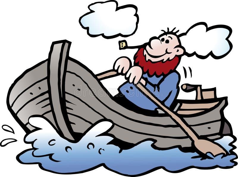 Ejemplo del vector de la historieta de un pescador en su bote de remos libre illustration