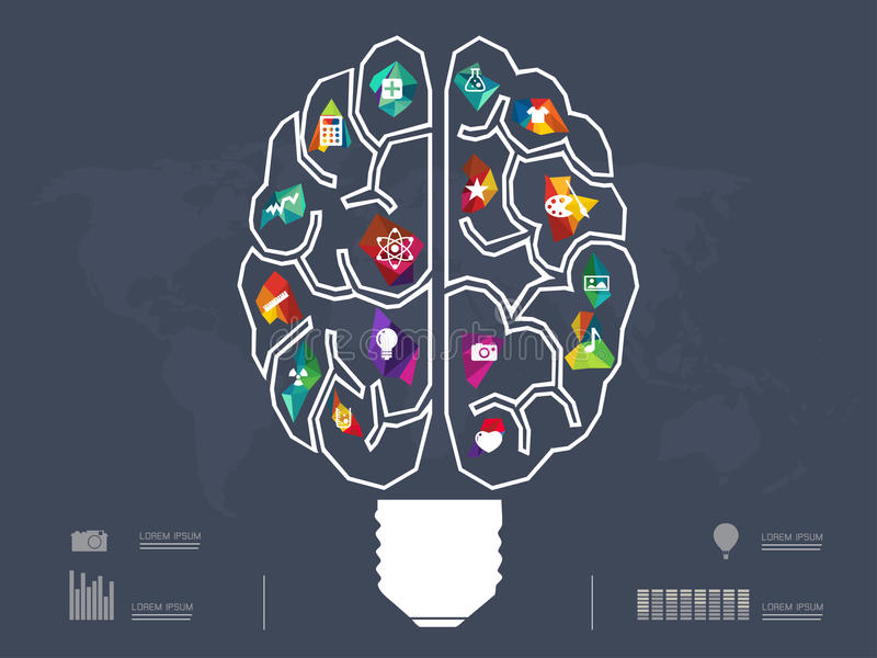 Ejemplo del vector de la idea creativa del cerebro ilustración del vector