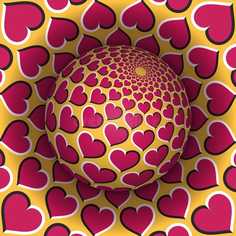 Ejemplo del vector de la ilusión óptica Esfera que se eleva sobre el agujero Objetos modelados corazones amarillos rosados stock de ilustración
