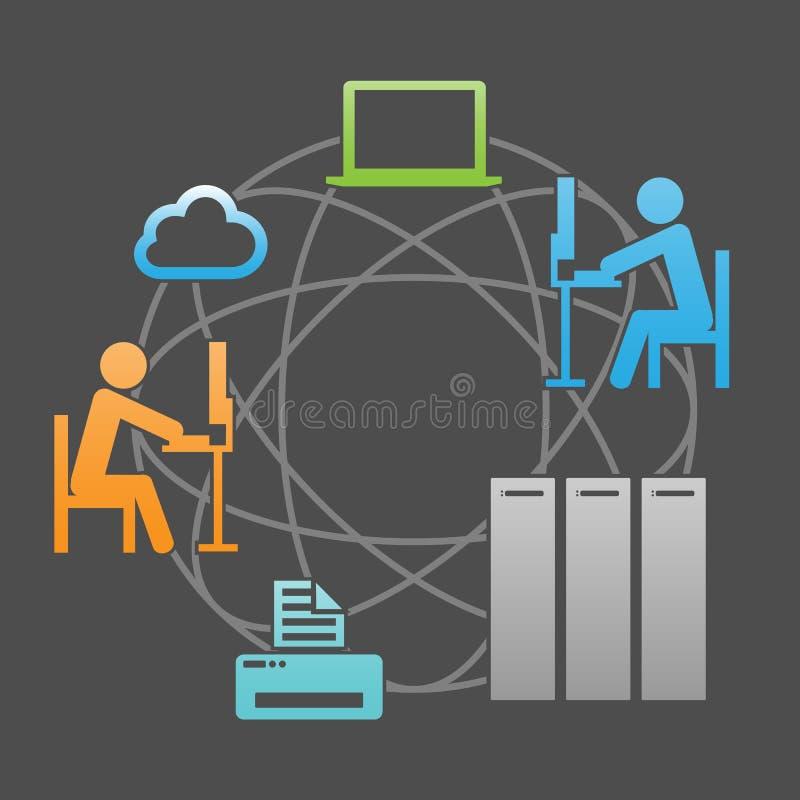 Ejemplo del vector de la infraestructura del sistema de comunicación de la red ilustración del vector