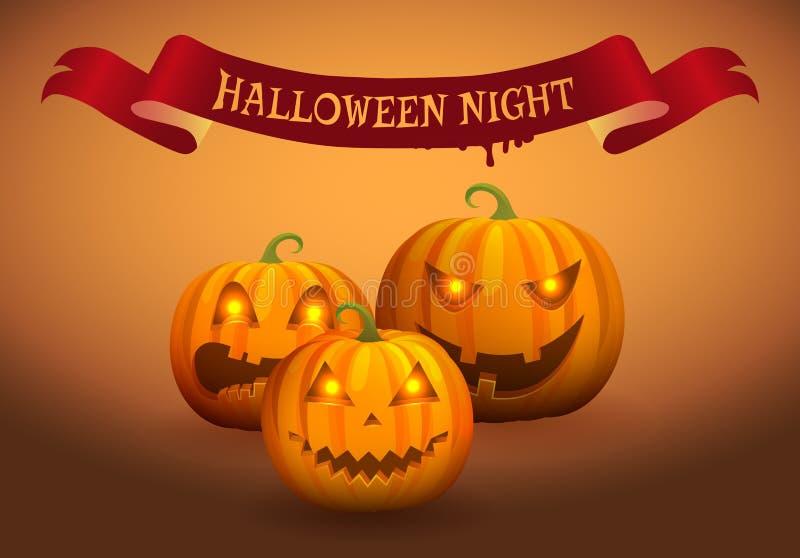 Ejemplo del vector de la Jack-o-linterna de la noche de Halloween stock de ilustración