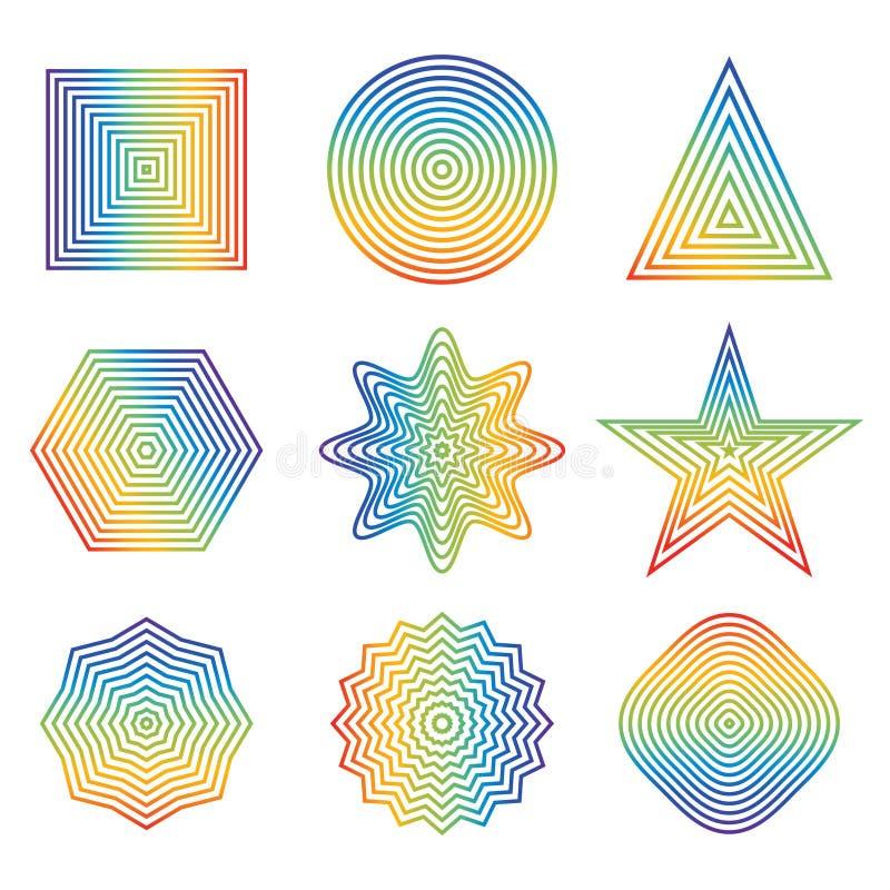 Ejemplo del vector de la línea del arco iris en el elemento geométrico de la forma ilustración del vector