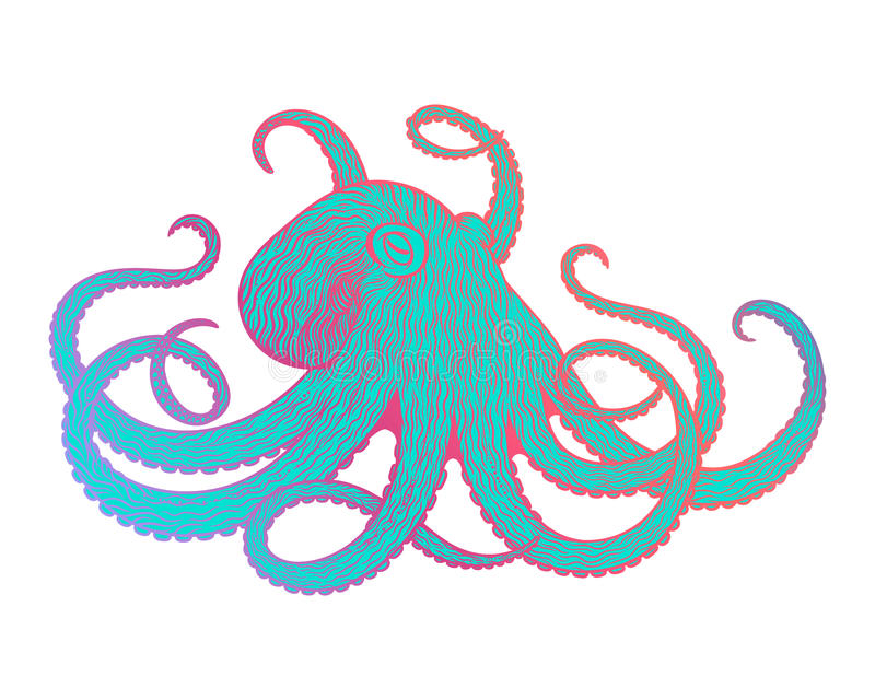 Ejemplo del vector de la línea estilo del pulpo del arte Diseño para la camiseta, carteles stock de ilustración