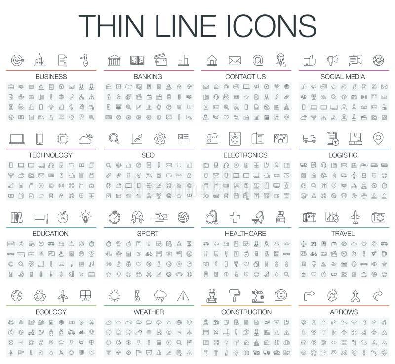 Ejemplo del vector de la línea fina iconos blancos y negros fijados