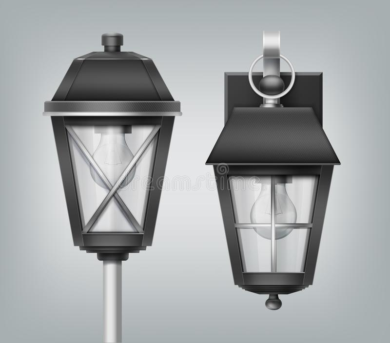 Ejemplo del vector de la linterna del vintage en polo y de la pared, lámparas eléctricas modernas, luces de calle al aire libre e stock de ilustración