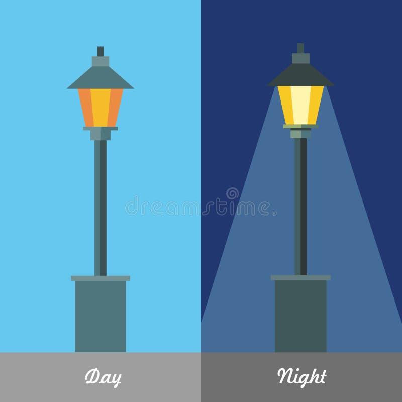 Ejemplo del vector de la luz de calle en día y noche libre illustration