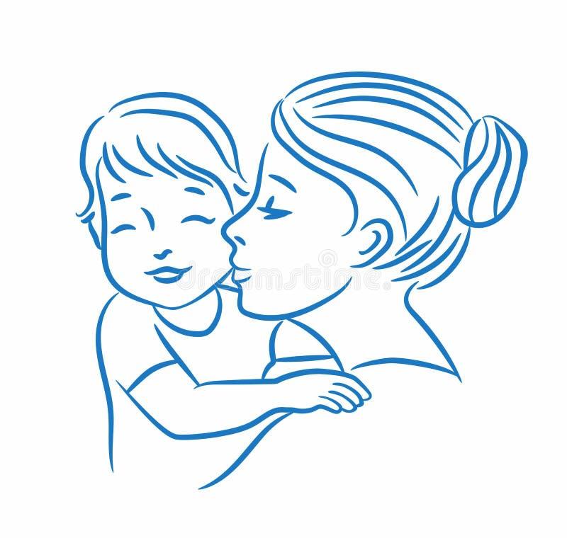 Ejemplo del vector de la madre y de su bebé libre illustration