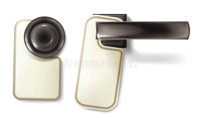 Ejemplo del vector de la manija del metal del botón de puerta del hotel libre illustration