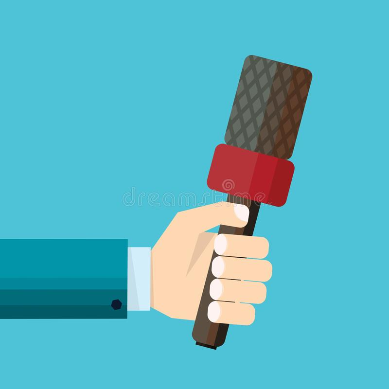 Ejemplo del vector de la mano del hombre de negocios que celebra el micrófono rojo stock de ilustración