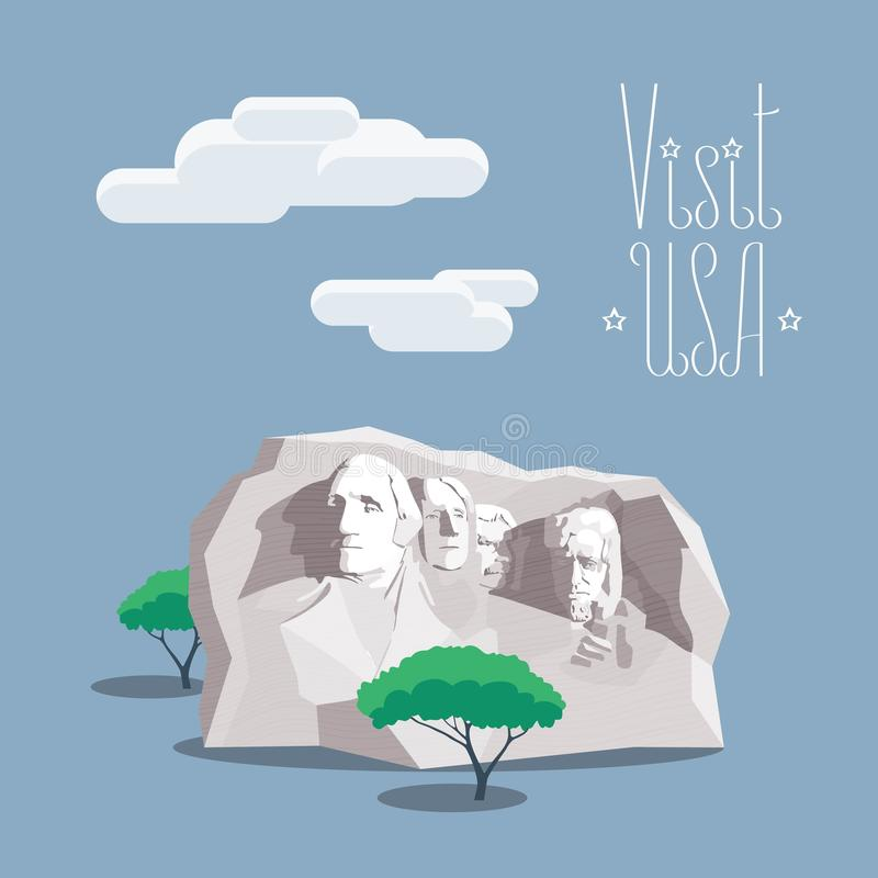Ejemplo del vector de la montaña de los E.E.U.U. Rushmore libre illustration