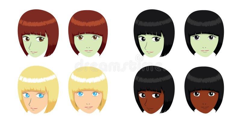 Ejemplo del vector de la muchacha del pelo del casco stock de ilustración
