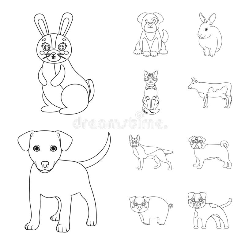 Ejemplo del vector de la muestra del animal y del hábitat Colección de ejemplo del vector de la acción del animal y de granja libre illustration