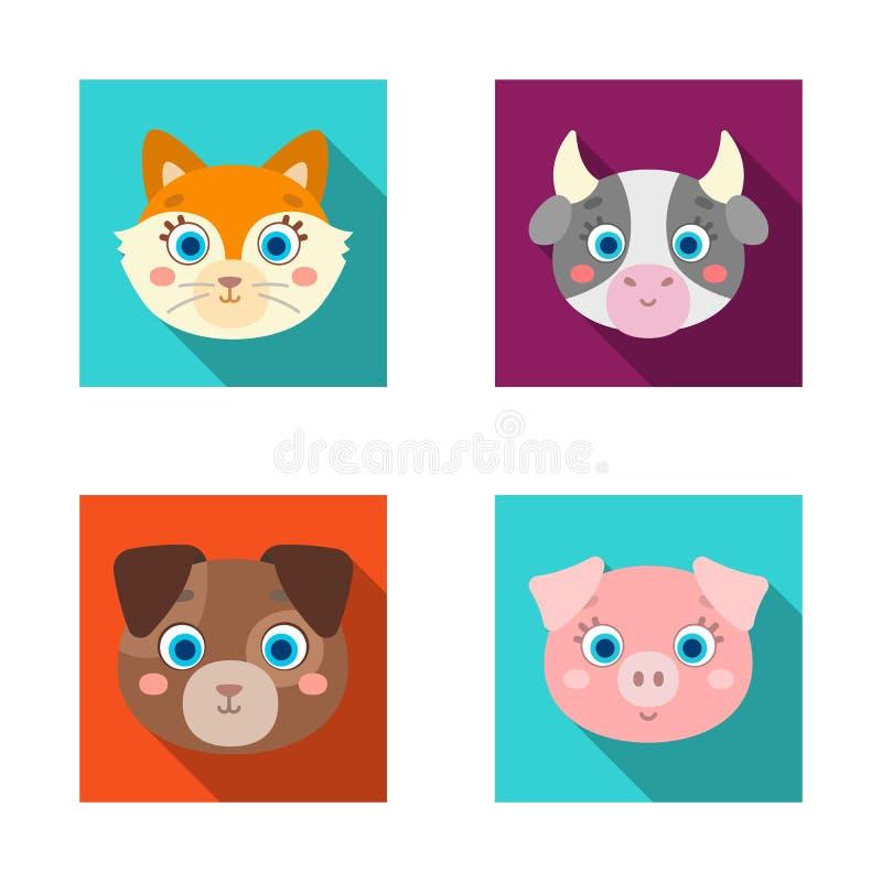 Ejemplo del vector de la muestra del animal y del hábitat Colección de símbolo común del animal y de granja para la web stock de ilustración