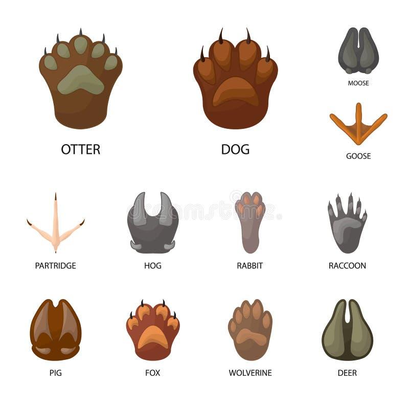 Ejemplo del vector de la muestra del animal y de la impresión Colección de animal y de símbolo común de la huella para la web stock de ilustración