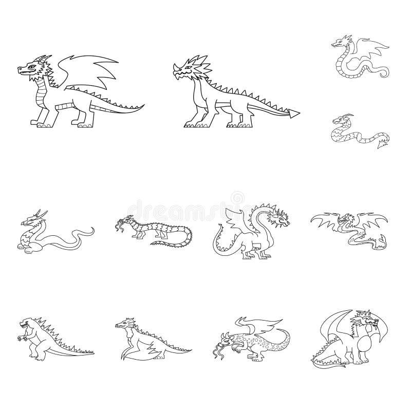 Ejemplo del vector de la muestra asiática y medieval Colección de símbolo común asiático y mítico para la web stock de ilustración