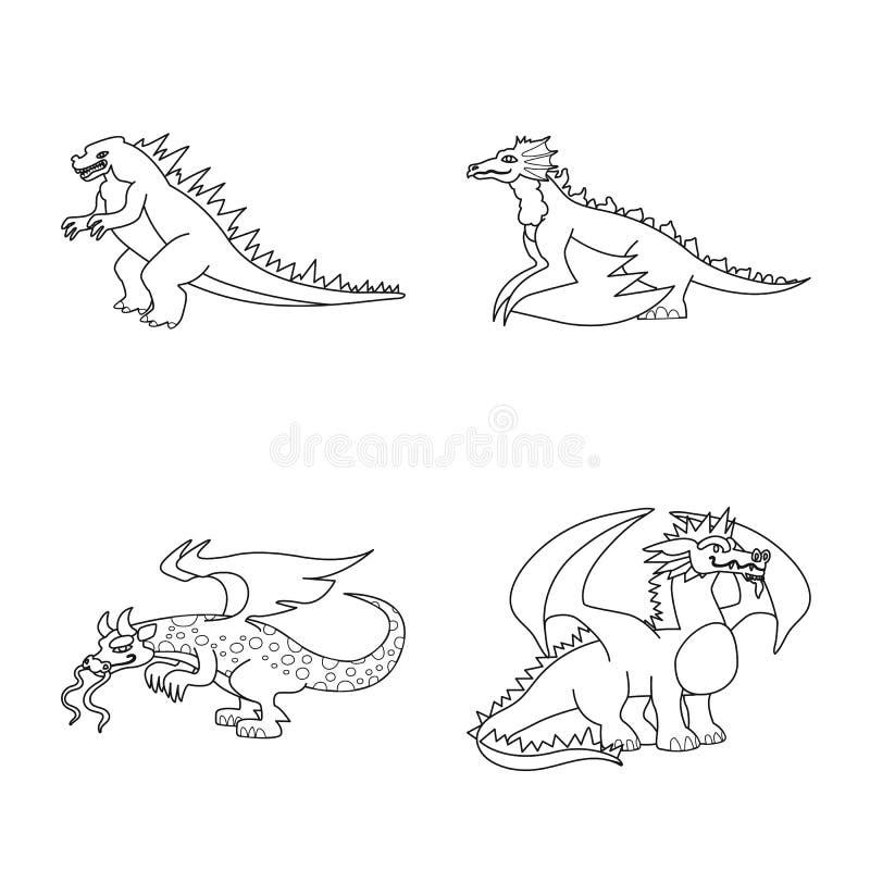 Ejemplo del vector de la muestra asiática y medieval Fije del icono asiático y mítico del vector para la acción stock de ilustración