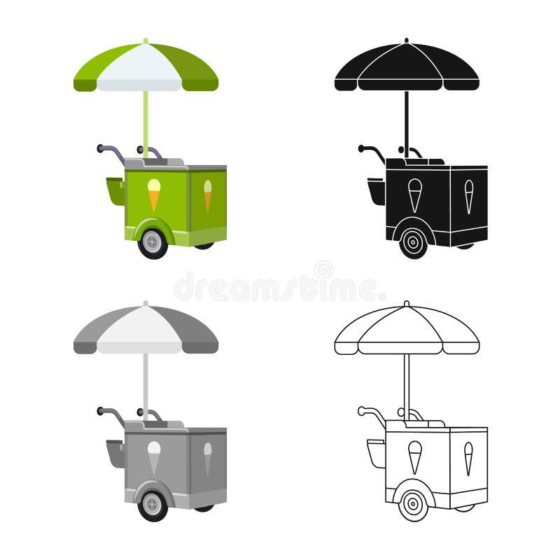 Ejemplo del vector de la muestra del carro y del parasol Colección de símbolo común del carro y de la sombrilla para la web stock de ilustración