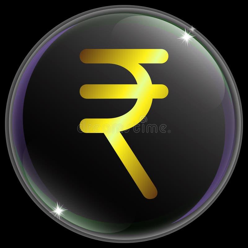 Ejemplo del vector de la muestra o del símbolo simple y realista de moneda de la rupia india con pendiente del oro ilustración del vector