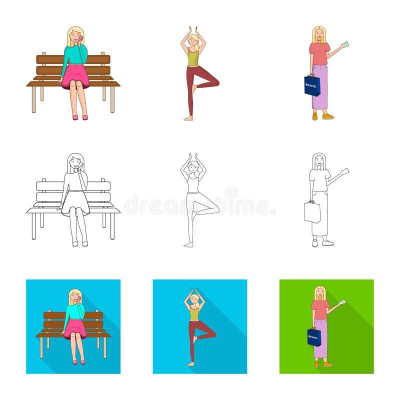 Ejemplo del vector de la muestra de la postura y del humor Colecci?n de postura y de ejemplo com?n femenino del vector libre illustration
