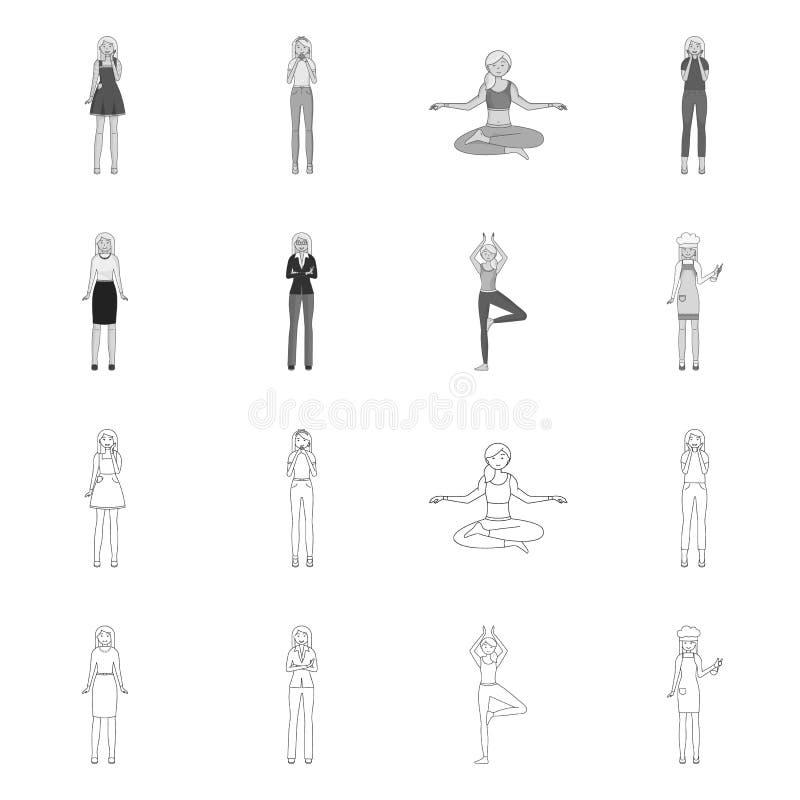 Ejemplo del vector de la muestra de la postura y del humor Fije de postura y del ejemplo com?n femenino del vector libre illustration