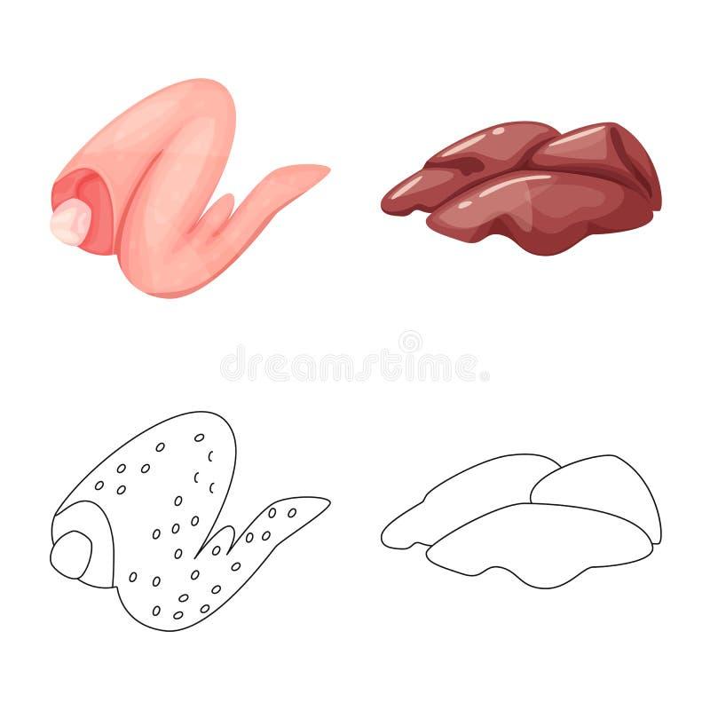 Ejemplo del vector de la muestra del producto y de las aves de corral Colecci?n de producto y de s?mbolo com?n de la agricultura  stock de ilustración