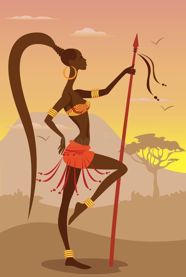 Ejemplo del vector de la mujer africana stock de ilustración
