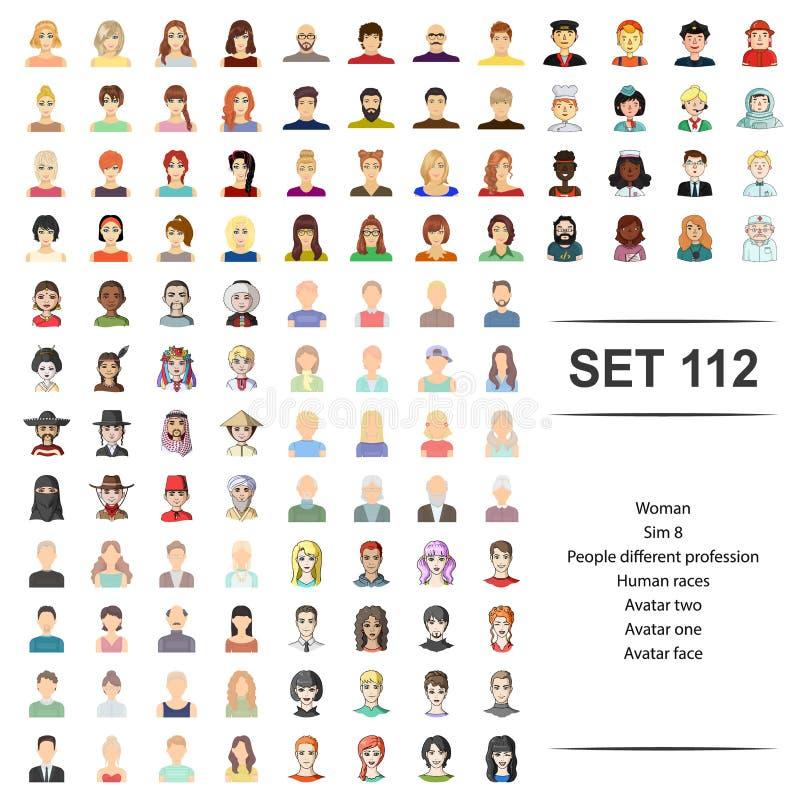 Ejemplo del vector de la mujer, gente, diferente, profesión, sistema del icono de la cara del avatar de las razas humanas libre illustration