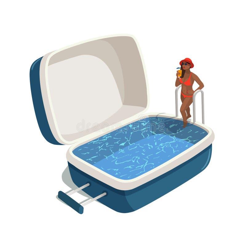 Ejemplo del vector de la mujer joven con un cóctel, caminando en la piscina en la maleta abierta Viajes stock de ilustración