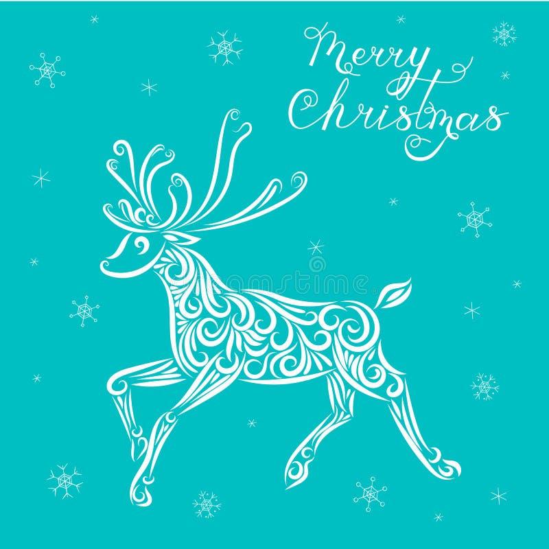 Ejemplo del vector de la Navidad de un reno en un fondo azul Poner letras a Feliz Navidad Caligraf?a Copos de nieve A?o Nuevo ilustración del vector