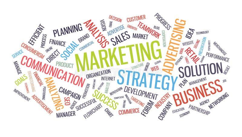 Nube de la palabra de la estrategia empresarial del márketing libre illustration