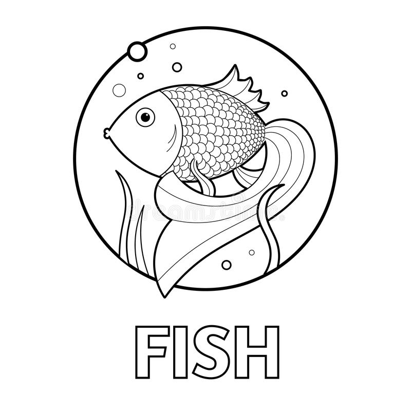 Ejemplo del vector de la página educativa del colorante con los cartoonfish para los niños stock de ilustración
