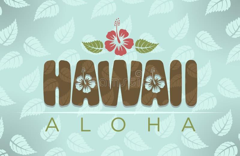 Ejemplo del vector de la palabra de Hawaii y de la hawaiana ilustración del vector