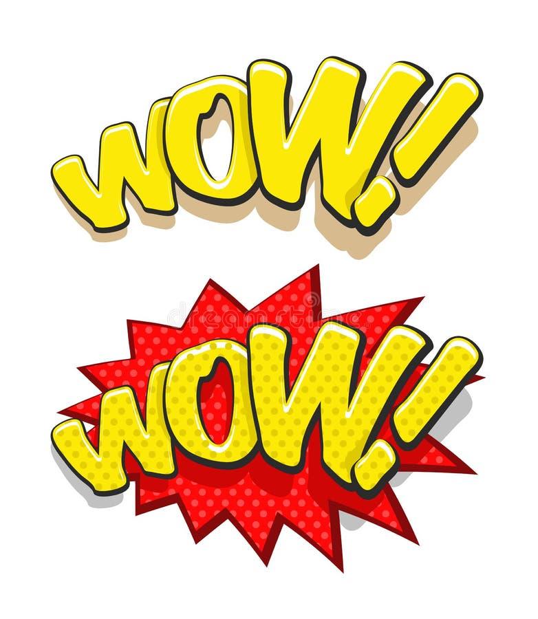 Ejemplo del vector de la palabra wow del estilo de los tebeos ilustración del vector