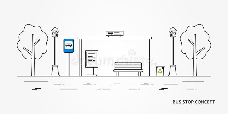 Ejemplo del vector de la parada de autobús stock de ilustración