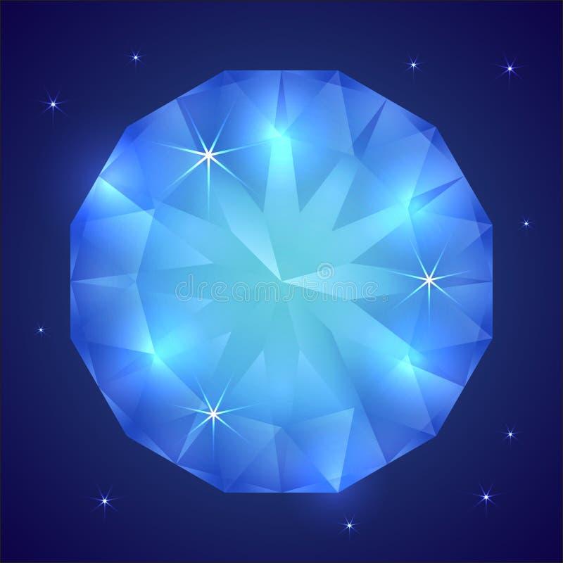 Ejemplo del vector de la piedra preciosa preciosa del zafiro stock de ilustración