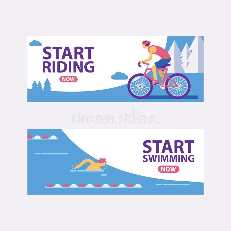 Ejemplo del vector de la pista del Triathlon Comience a nadar, montando banderas Deportista rápido en el juego del triathlon, dep ilustración del vector