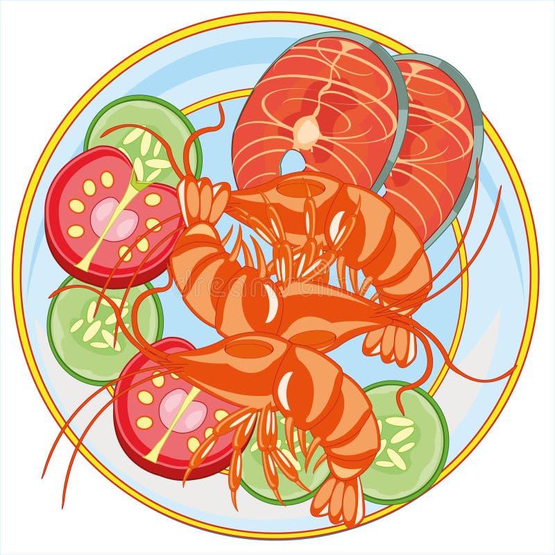 Ejemplo del vector de la placa con los mariscos de la gamba y de los pescados stock de ilustración