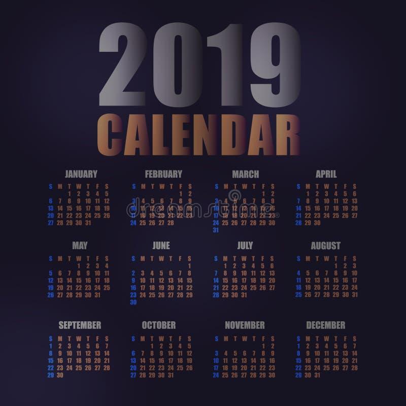 ejemplo del vector de la plantilla de 2019 calendarios libre illustration
