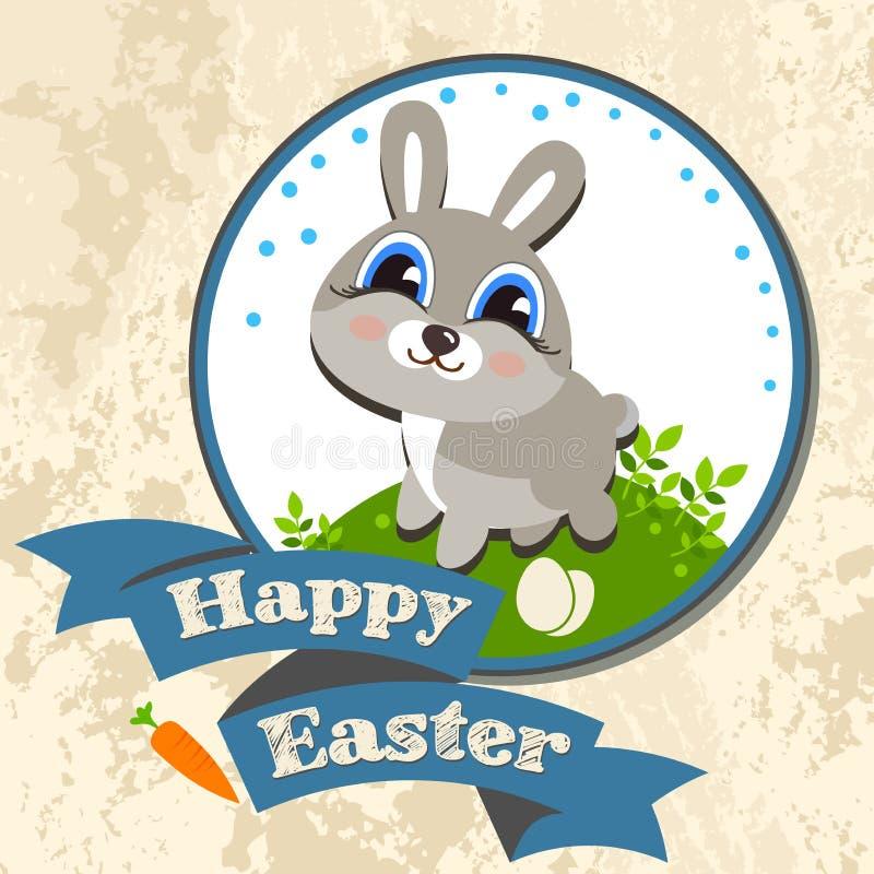 Ejemplo del vector de la plantilla de la caza del huevo del conejito de pascua ilustración del vector