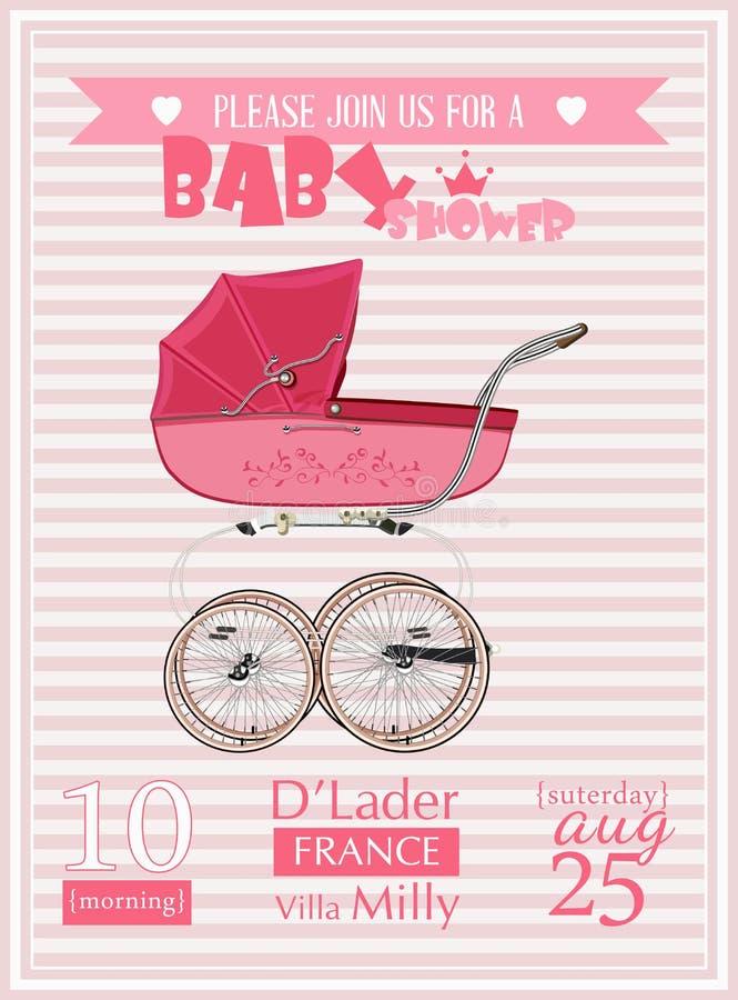 Ejemplo del vector de la plantilla de la invitación de la muchacha de la fiesta de bienvenida al bebé con el cochecito de niño de stock de ilustración
