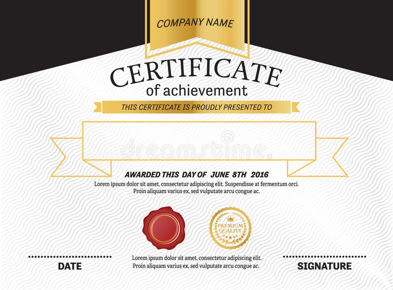 Ejemplo del vector de la plantilla del diploma del certificado libre illustration